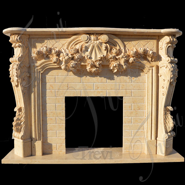 Antique stone french country fireplace mantels surrounds for sale TMFP-13