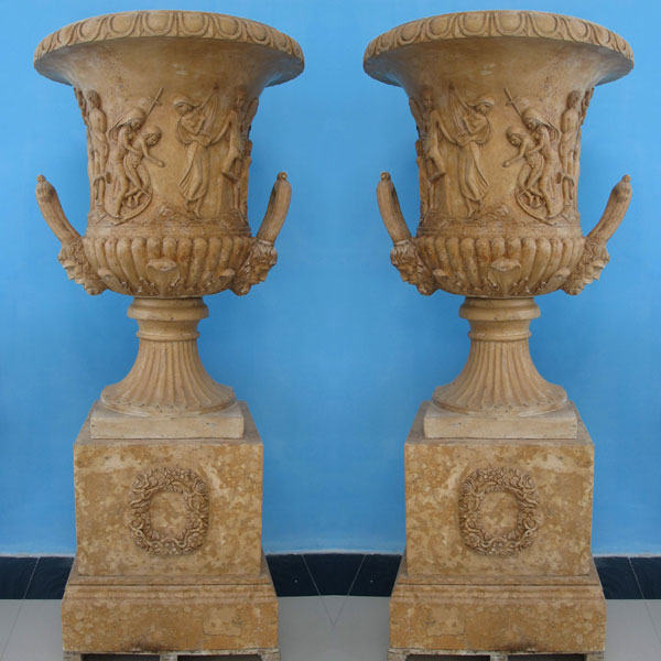Beige marble large planters flower pots for yard decor