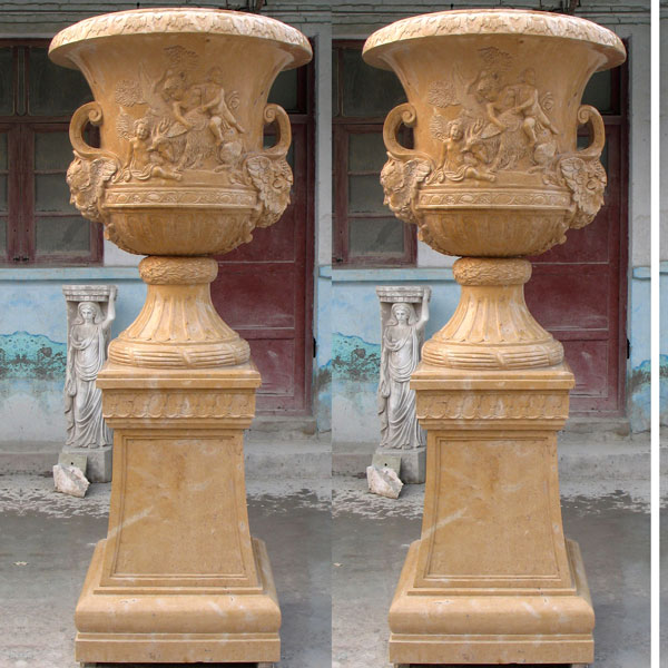 Beige marble large planters pots for garden decor