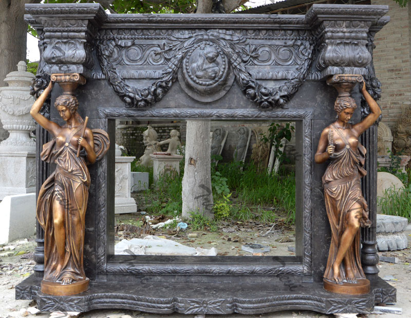 Buy antique black carved stone luxury fireplace mantel shelf for sale