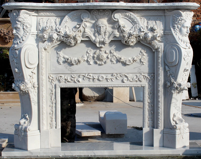 Buy white marble fireplace mental shelf for sale