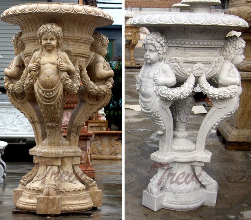 Garden decorative antique marble carving planter pots with angel statues ornaments for sale (2)