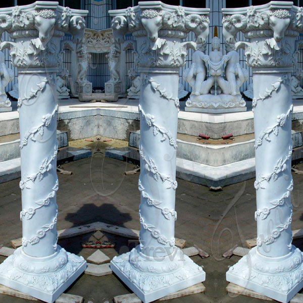 Greek decorative white marble carved columns and pillars for sale