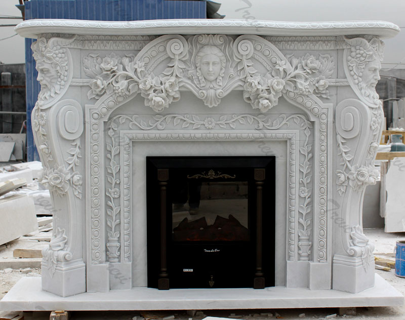 Home depot white marble carving fireplace mental surround for sale