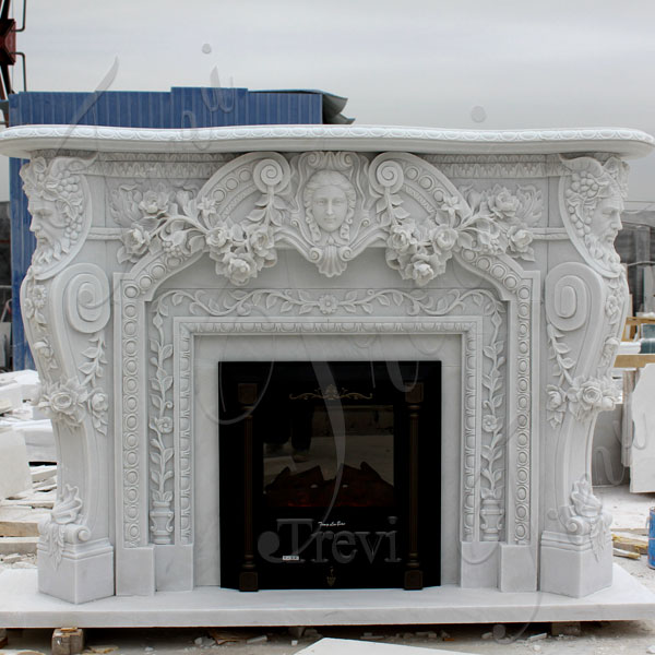 Home depot white marble fireplace mental surround for sale TMFP-2