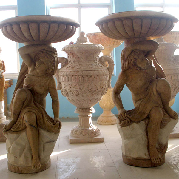 Large antique marble planter pots with man statues a pair discount TMP-05
