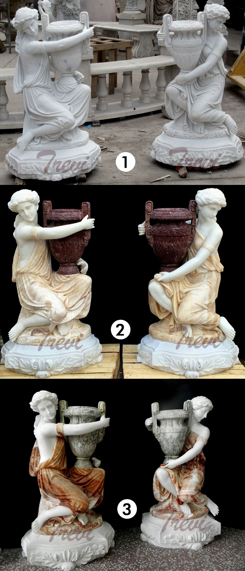 Large decoration multi color marble planters with beautiful lady statues for interior home designs