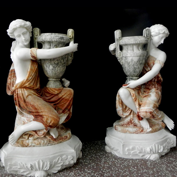 Large decoration multi color marble planters with beautiful lady statues for interior home