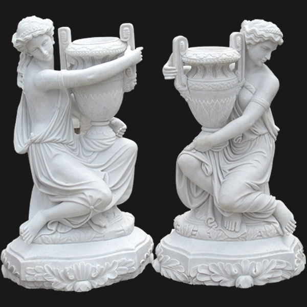 Large decoration white marble planters with beautiful lady statues for interior home TMP-04