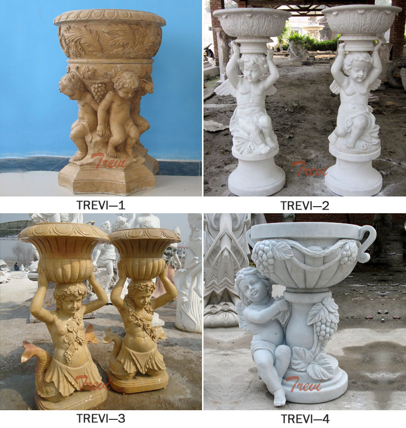 Large decorative white marble planters pots with angel statues designs