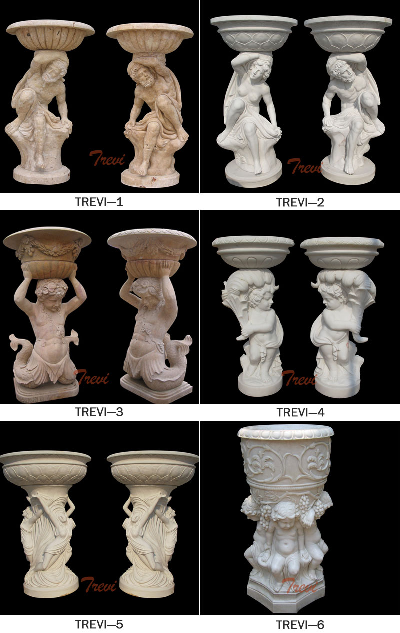 Large white marble planter pots with man statues a pair for home garden ornaments designs