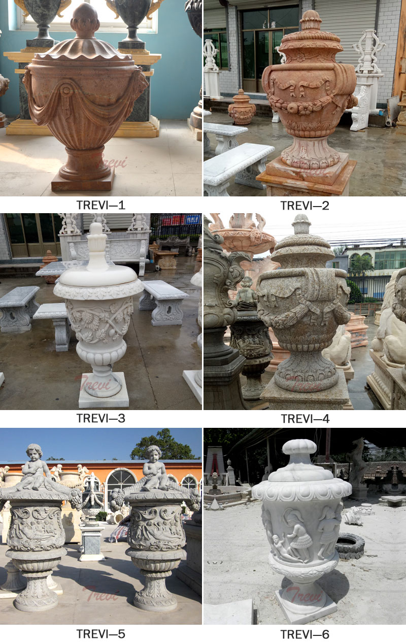 Rounded marble flower pots with hat for home interior decor designsRounded marble flower pots with hat for home interior decor designs