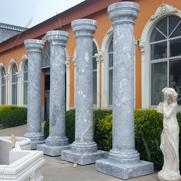 Stone round solid white marble architectural columns for sale