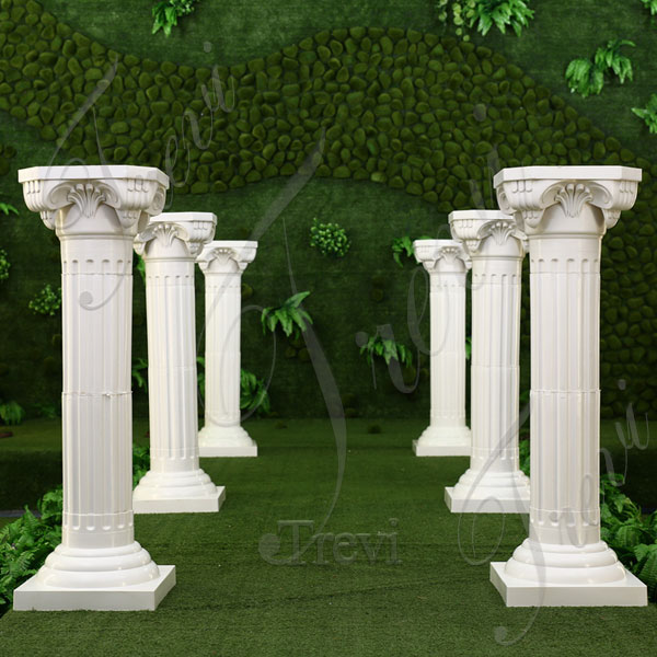 White marble corinthian roman pillars for weddings exterior