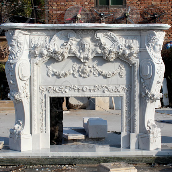 White marble fireplace mental shelf for sale TMFP-1