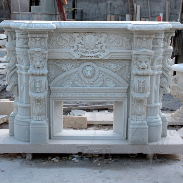 White Mediterranean fireplace mantels and surround decor TMFP-3