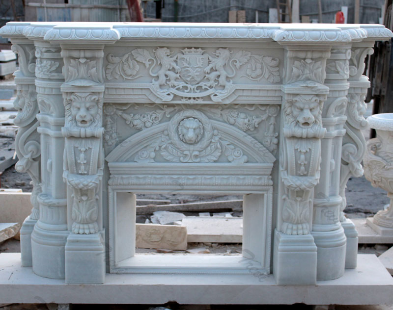 White mediterranean stone fireplace mantels and surround decor