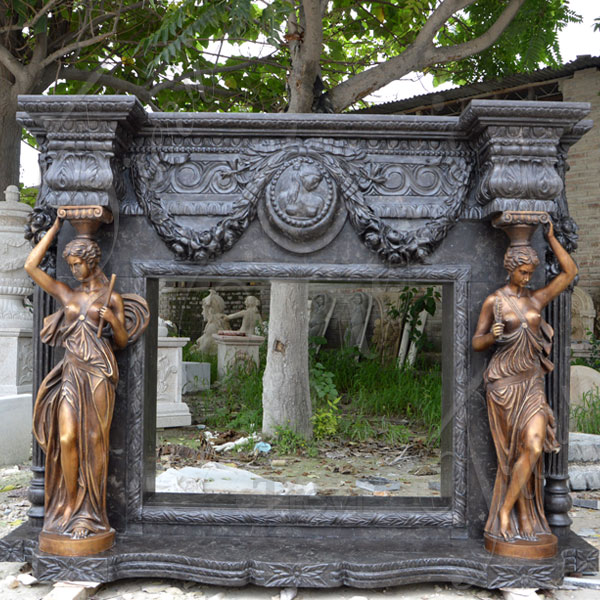 Antique black carved stone luxury fireplace mantel shelf for sale TMFP-7