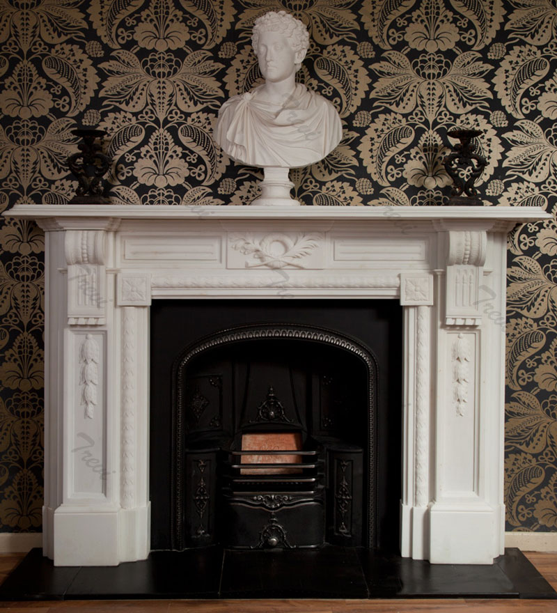corner carved white fireplace mantels and surrounds for sale near me