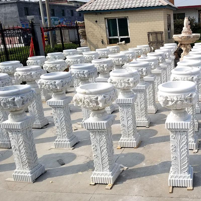 TMP-56 contemporary marble plant pots outdoor garden decor on stock wholesale