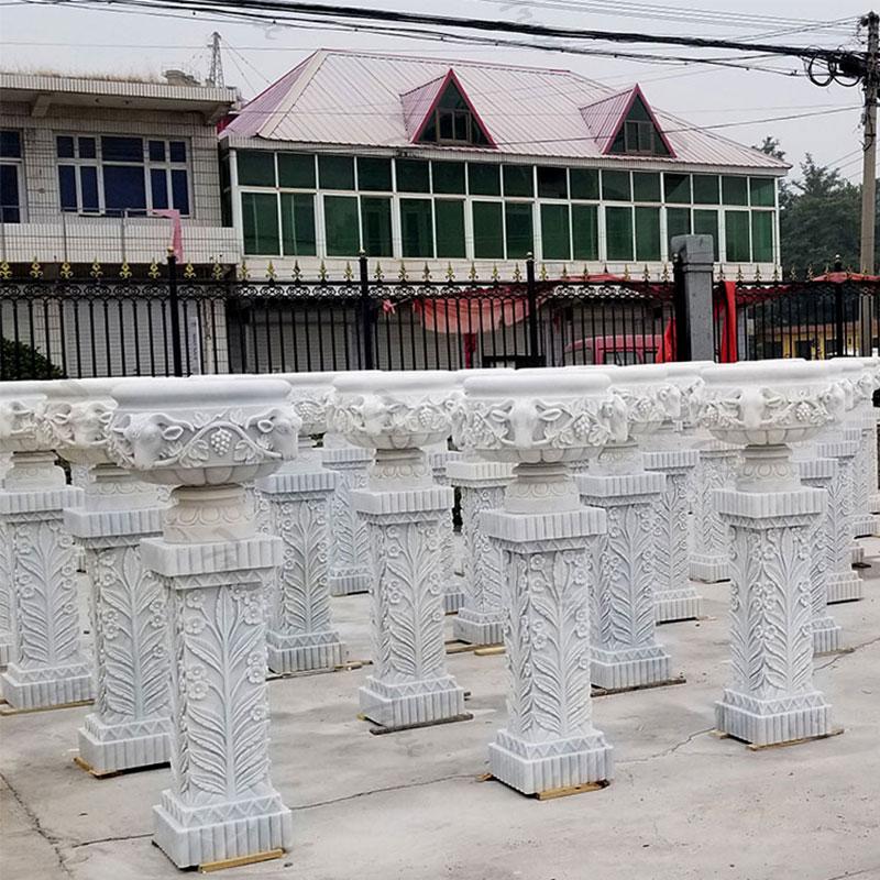 TMP-56 contemporary marble plant pots outdoor garden decor on stocks wholesale