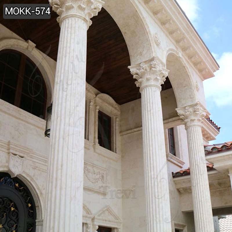 Corinthian Order Beige Marble Columns for Home Decoration Suppliers