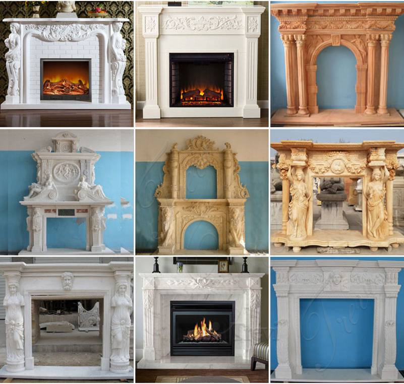 Classic White Marble French Fireplace Mantels