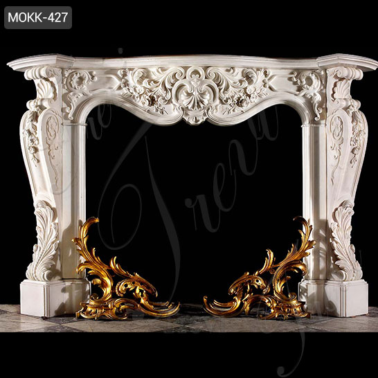 Hand Carved Classic White Marble French Fireplace Mantels for Sale MOKK-427