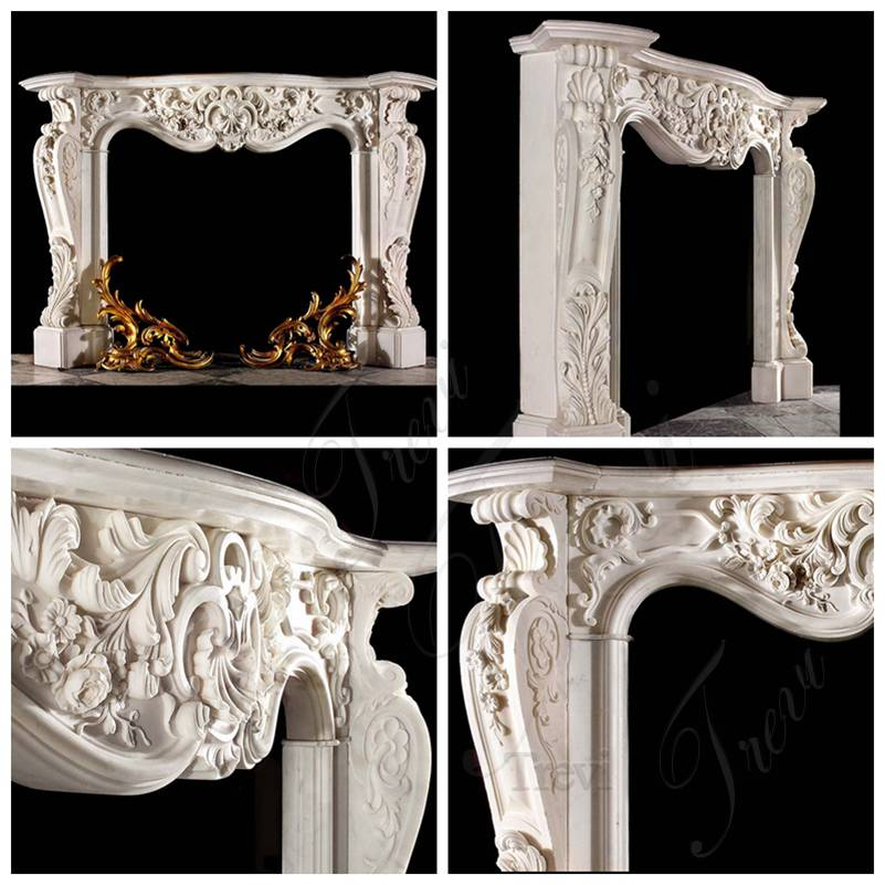 Hand Carved Classic White Marble French Fireplace Mantels