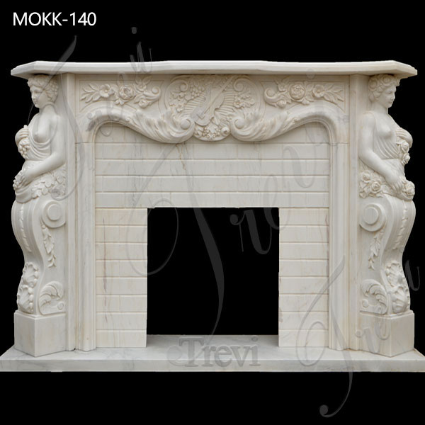 Natural Marble Figure Fireplace Surround Indoor Decoration for Sale MOKK-140