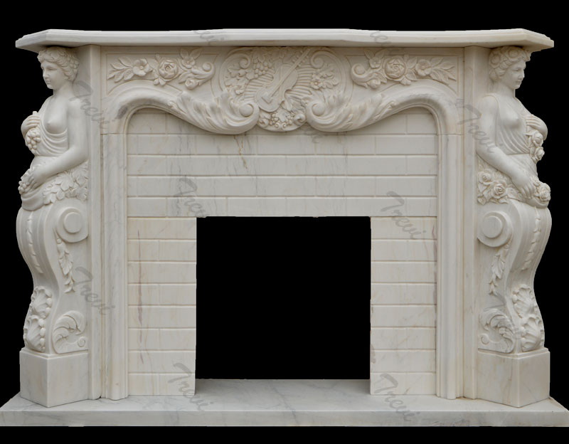Natural Marble Figure Fireplace Surround Indoor Decoration