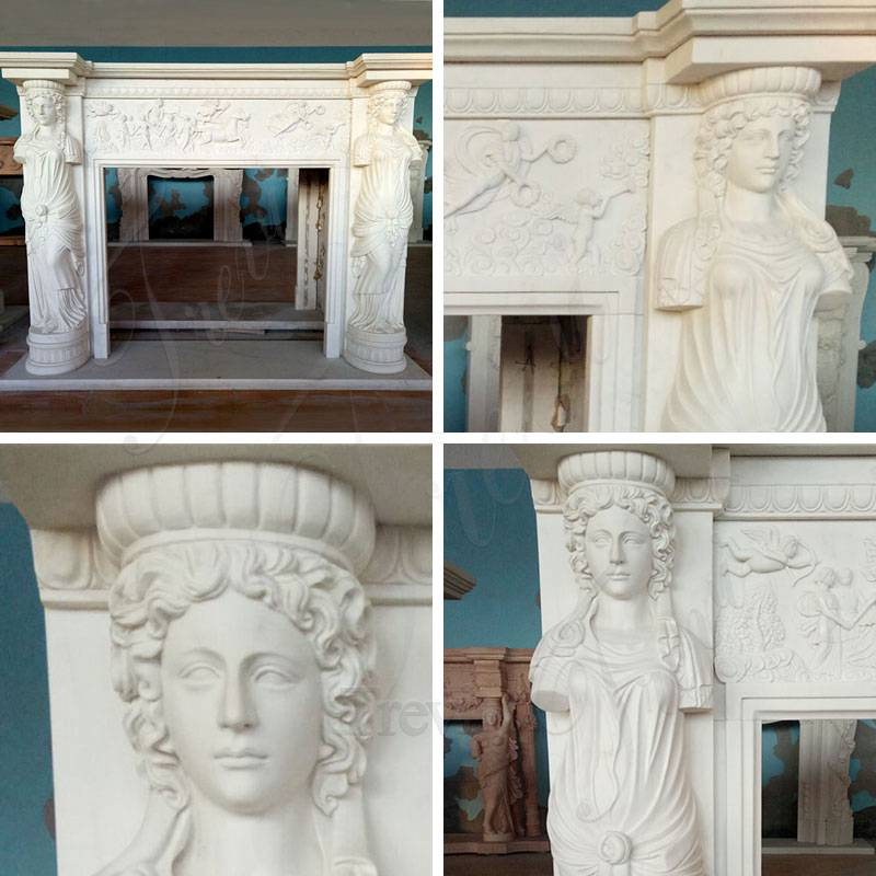 Decoration Marble Statuary Fireplace Mantel for Sale