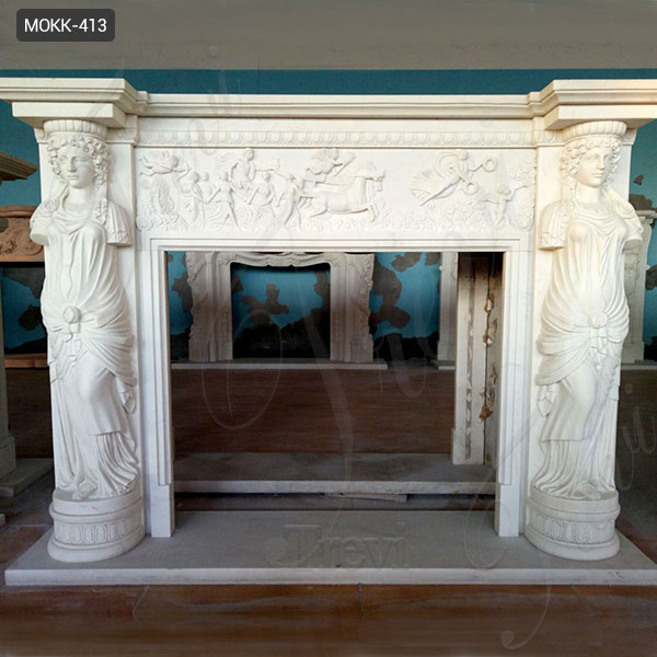 Hand Carved Decoration Marble Statuary Fireplace Mantel for Sale MOKK-413