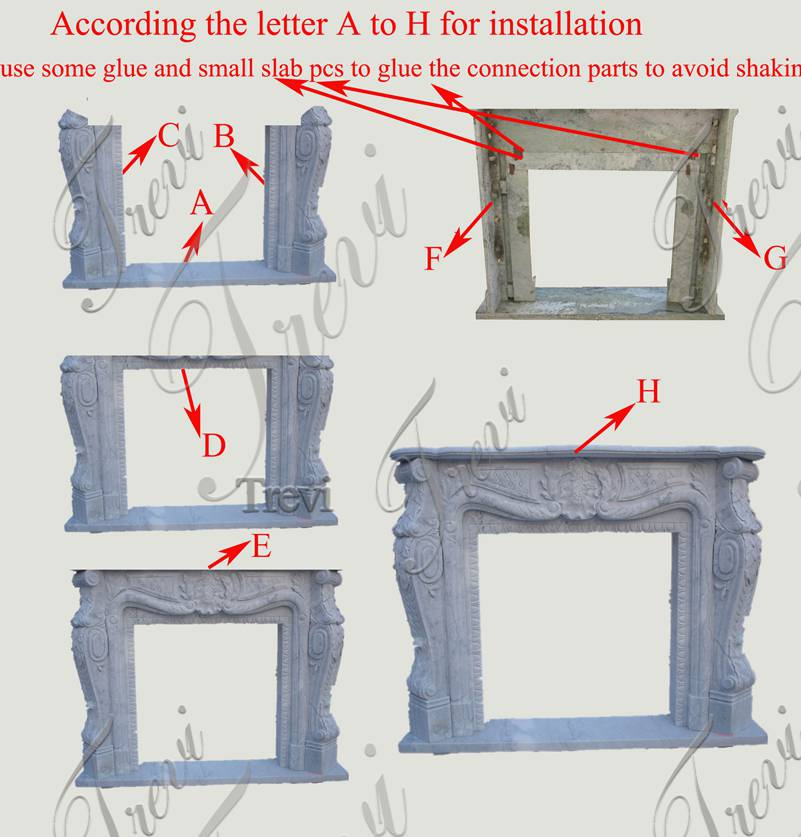 marble fireplace Installation Diagram