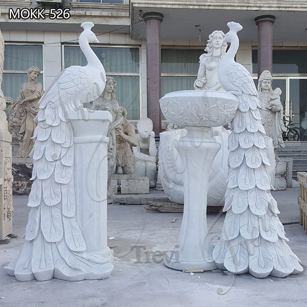 Garden Decor Modern White Marble Peacock Planters for Sale MOKK-413