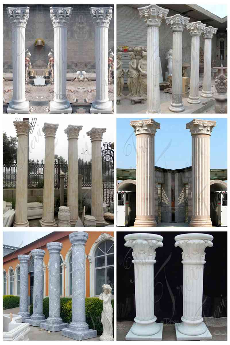 Large Round Marble Columns Designs for Residential Buildings