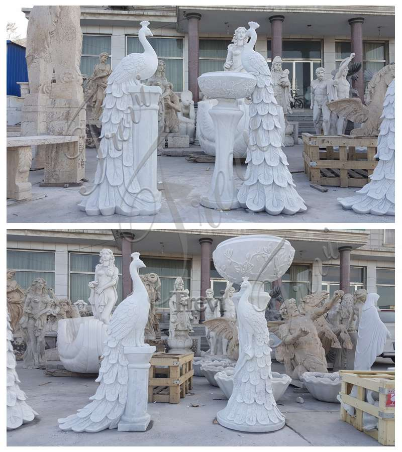 White Marble Peacock Planters for Sale