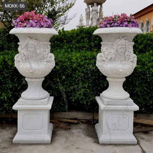Hand Carved White Marble Planters with Figure for Garden Decor for Sale MOKK-56