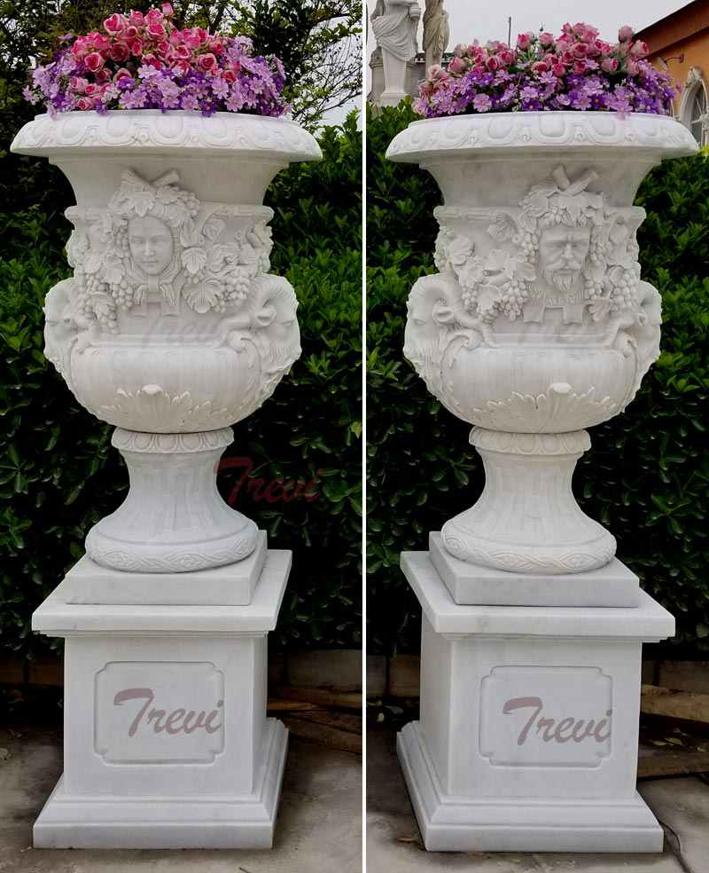Hand Carved White Marble Planters with Figure for Garden Decor