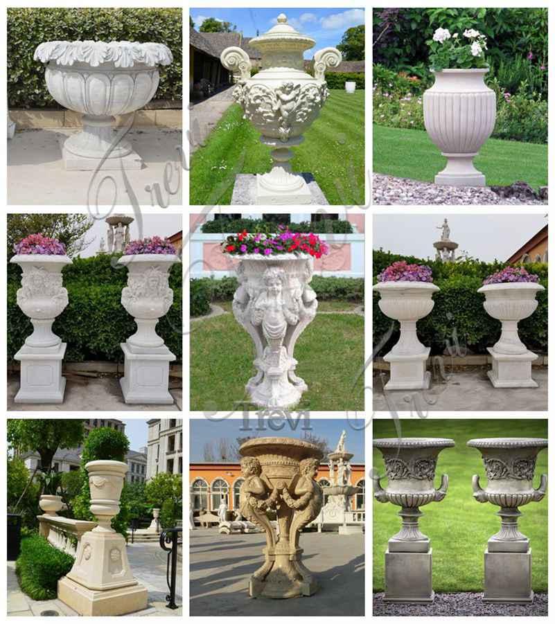 Garden White Marble Flower Pot
