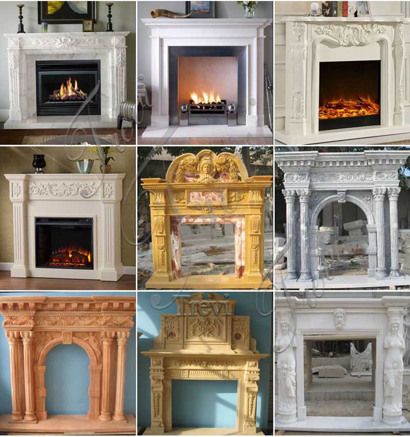 Hand Carved Simple Modern Marble Fireplace Mantel