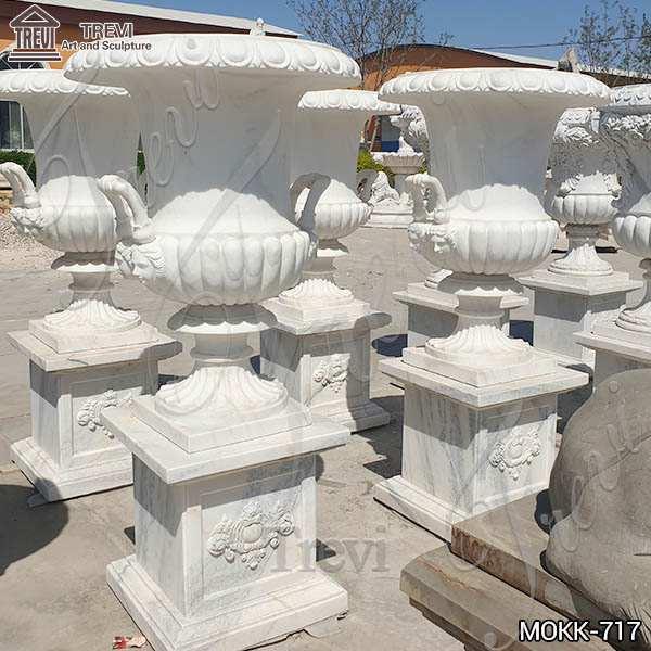 Large Garden Decor White Marble Flower Pots for Sale MOKK-717