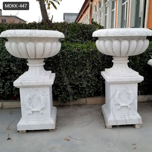 Outdoor Garden White Marble Flower Pot for Sale MOKK-447