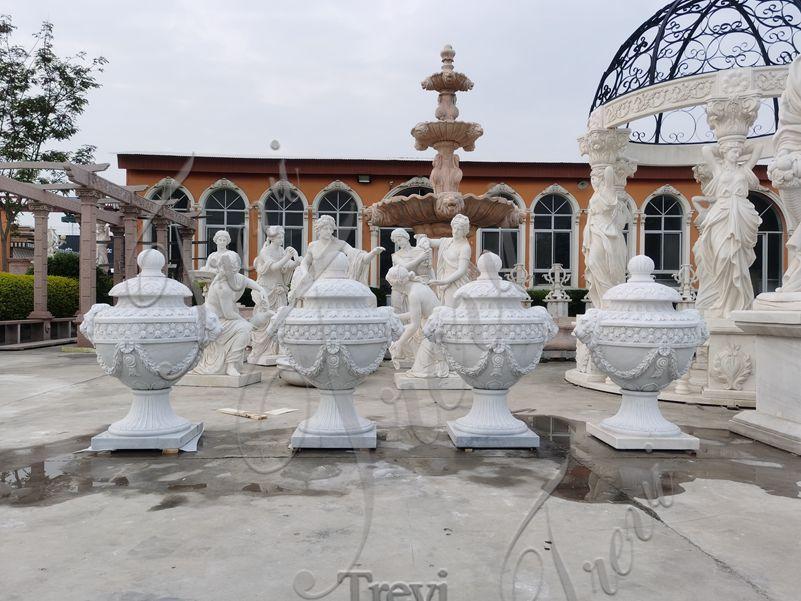 Hand Carved Decorative White MarbleFlowerPots