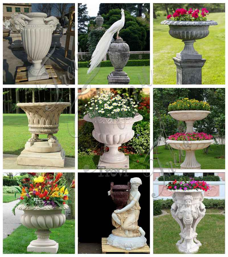 white marble flower pot for sale