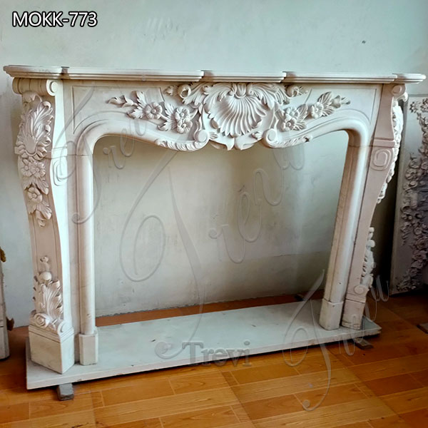 Hand Carved French White Marble Fireplace Mantel for sale MOKK-773