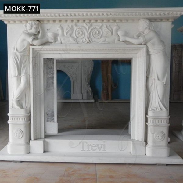 White Marble Fireplace Surround Figure and Bird Designs for Sale MOKK-771